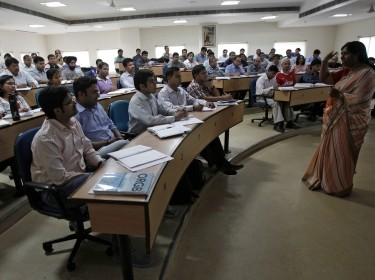 College students attending a lecture in Gurgaon, on the outskirts of New Delhi