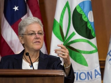 EPA administrator Gina McCarthy announces steps under the Clean Air Act to cut carbon pollution from power plants during a news conference on June 2, 2014