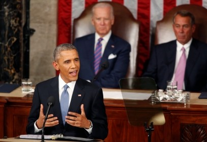 U.S. President Barack Obama delivers his State of the Union address to a joint session of Congress in Washington, January 20, 2015