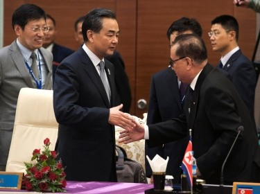 China's Foreign Minister Wang Yi (L) with North Korea's Foreign Minister Ri Su Yong (R) in Naypyidaw, Myanmar, August 10, 2014