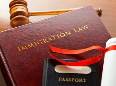 Immigration law book, gavel, legal document, and a passport