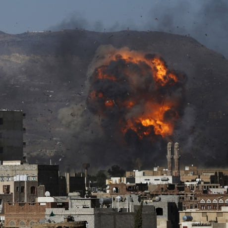 An air strike hits a military site controlled by the Houthi group in Yemen's capital Sanaa May 12, 2015, photo by Khaled Abdullah/Reuters
