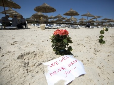 Flowers at the beachside of the Imperial Marhaba resort, which was attacked by a gunman in Sousse, Tunisia, June 28, 2015