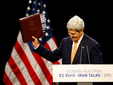 U.S. Secretary of State John Kerry reacts as he delivers a statement on the Iran deal at the Vienna International Center, Austria, July 14, 2015