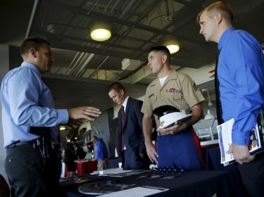 Hundreds of veterans and 115 companies attend a military job fair in San Francisco, California, August 25, 2015