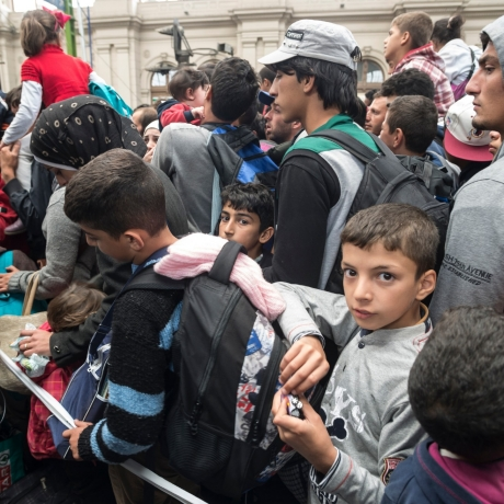 Refugees in Keleti train station, Budapest, Hungary, photo by EOPITZ/iStock