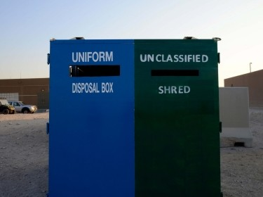 Massive unclassified paper shred and uniform drop-off bins help prevent OPSEC violations