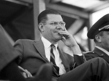 Secretary of Defense Robert S. McNamara visits Fort Bragg, North Carolina in October 1961