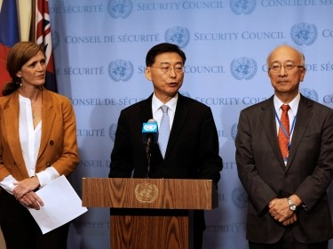 U.S. Amb. Samantha Power, South Korean Amb. Hahn Choong-hee, and Japanese Amb. Koro Bessho after the UN Security Council meeting to discuss the latest missile launches by North Korea, New York, September 6, 2016