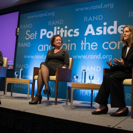 Malcolm Gladwell, V. Darleen Opfer, and Laura Hamilton at RAND's Politics Aside event in Santa Monica, November 12, 2016, photo by Maria Martin/RAND Corporation