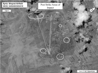 A battle damage assessment image of Shayrat Airfield, Syria, following U.S. missile strikes, April 6, 2017