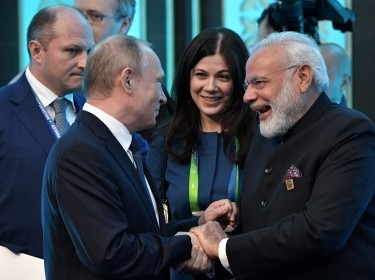 Russian President Vladimir Putin and Indian Prime Minister Narendra Modi attend a meeting at the Shanghai Cooperation Organization summit in Astana, Kazakhstan, June 9, 2017