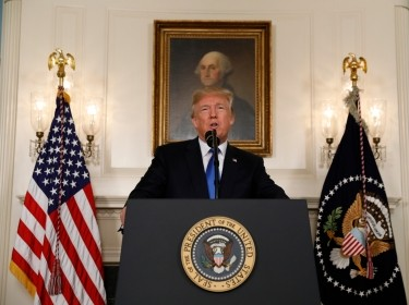 U.S. President Donald Trump speaks about the Iran nuclear deal in the Diplomatic Room of the White House in Washington, U.S., October 13, 2017