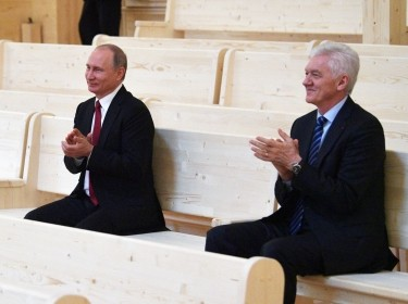 Russian President Vladimir Putin and Gennady Timchenko, founder and owner of a privately held investment vehicle Volga Group, visit a new concert hall of the Mariinsky Theater in St. Petersburg, Russia, June 3, 2017
