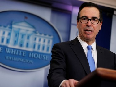 U.S. Treasury Secretary Steven Mnuchin announces North Korea-related sanctions, Washington, D.C., February 23, 2018