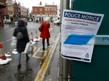 A police notice is attached to screening surrounding a restaurant which was visited by former Russian intelligence officer Sergei Skripal and his daughter Yulia before they were found on a park bench after being poisoned in Salisbury, Britain, March 19, 2018