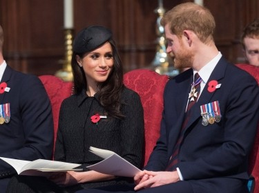 Britain's Prince Harry and his fiancee Meghan Markle attend a Service of Thanksgiving and Commemoration on Anzac Day at Westminster Abbey in London, Britain, April 25, 2018