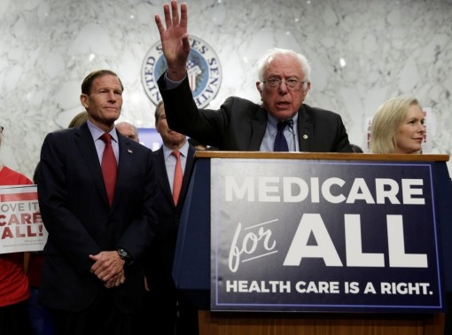 Senator Bernie Sanders speaks during an event to introduce the Medicare for All Act of 2017 on Capitol Hill in Washington, September 13, 2017