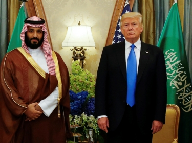 U.S. President Donald Trump, flanked by White House senior advisor Jared Kushner, meets with Saudi Arabia's Deputy Crown Prince Mohammed bin Salman in Riyadh, May 20, 2017