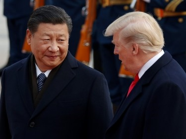 U.S. President Donald Trump with China's President Xi Jinping at the Great Hall of the People in Beijing, China, November 9, 2017