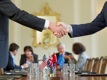 Two people shaking hands over a table with flags