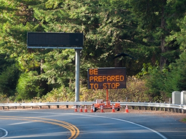 "A road work sign on California Highway 101 north warns, ""be prepared to stop"""