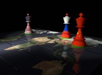 Work map with chess pieces with flags of Russia, China, and the United States