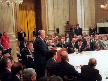 Soviet President Mikhail Gorbachev addresses the first meeting of the Madrid Peace Conference in Madrid, Spain, October 30, 1991, photo by Jim Hollander/Reuters