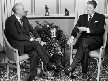 Soviet President Mikhail Gorbachev (L) and U.S. President Ronald Reagan begin their mini-summit talks in Reykjavik, October 11, 1986, photo by Mal Langsdon/Reuters
