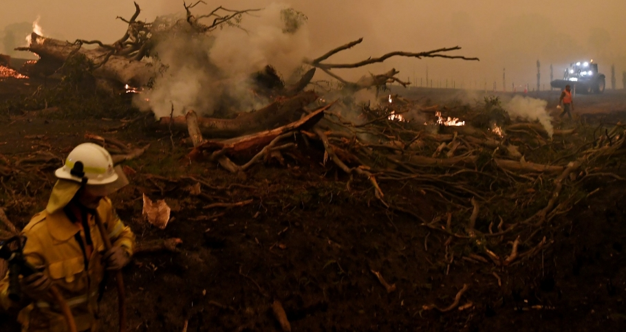 A burning gum tree is felled to stop it from falling on a car in Corbago, as bushfires continue in New South Wales, Australia, January 5, 2020