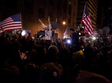 People in New York City react after hearing of the death of Osama bin Laden, photo by Sgt. Randall A. Clinton/U.S. Marine Corps Photo