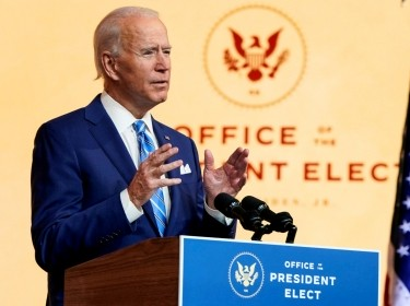 U.S. President-elect Joe Biden delivers a speech at his transition headquarters in Wilmington, Delaware, November 25, 2020, photo by Joshua Roberts/Reuters