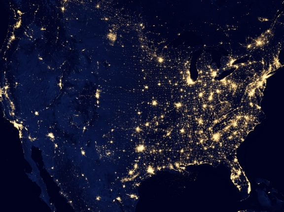 Satellite image of the United States at night, photo by NASA Earth Observatory/NOAA NGDC