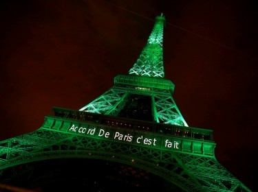 "The Eiffel tower is illuminated in green with the words ""Paris Agreement Is Done"" to celebrate the Paris U.N. COP21 Climate Change agreement in Paris, France, November 4, 2016"