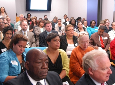 Nearly 100 community leaders and practitioners meet with Congressman Charles Rangel and HHS Regional Director Dr. Jaime Torres to discus the health needs of the 15th Congressional District.