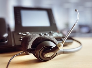 Call center telephone and headset