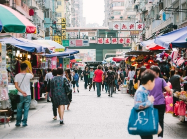 People shopping at Fa Yuen Street Market, Mong Kok, Hong Kong