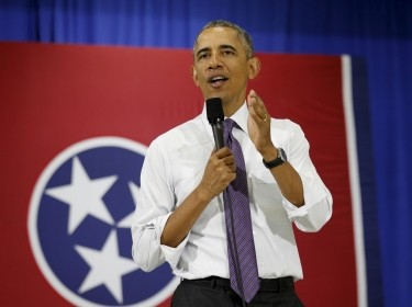 U.S. President Barack Obama speaks about the Affordable Care Act during a visit to Taylor Stratton Elementary School in Nashville, Tennessee, July 1, 2015