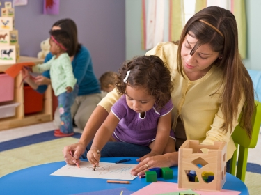 child learning at preschool