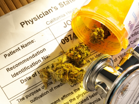 Medical marijuana and stethoscope, photo by Oxford/iStock