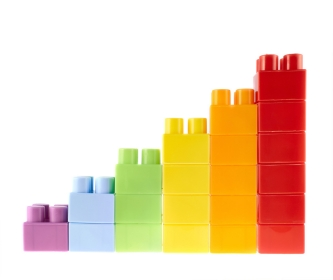 A simple bar chart made of building blocks