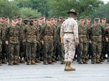 Parris Island, South Carolina, USA - September 23, 2014: Recruits undergo basic training at Marine Corps Recruit Depot Parris Island in South Carolina