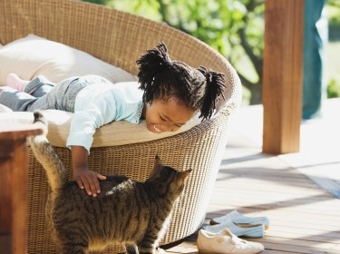 Young girl petting a cat on a veranda
