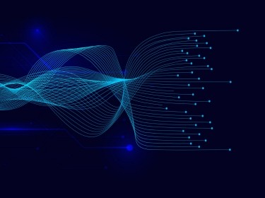 Vector wave lines flowing on blue background, straightening out and coming to points, image by chanut iamnoy/Getty Images