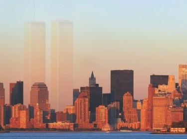 new york city skyline with ghosts of world trade center