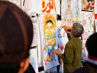 Politicized art in Egypt's Tahrir Square on February 9, 2011