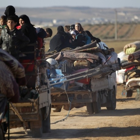 People fleeing violence in ISIS-controlled al-Bab, Syria arrive in the town's rebel-held outskirts, February 3, 2017, photo by Khalil Ashawi/Reuters