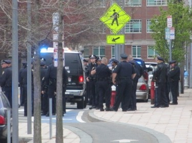 police officers gathered after the Boston Marathon bombings