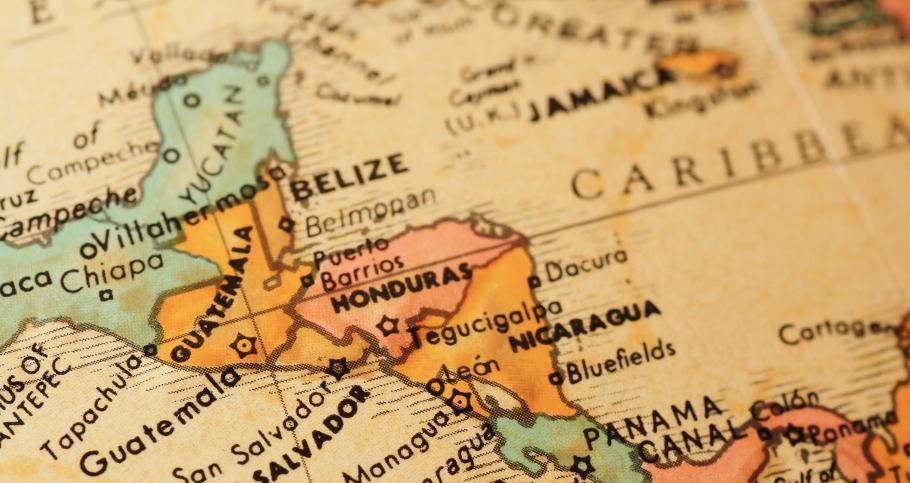 Central America on a globe