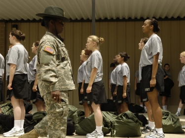 Recruits in their first 24 hours of military training learn basic formation commands